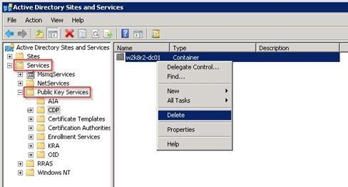 Services -> Public Key Services -> CDP