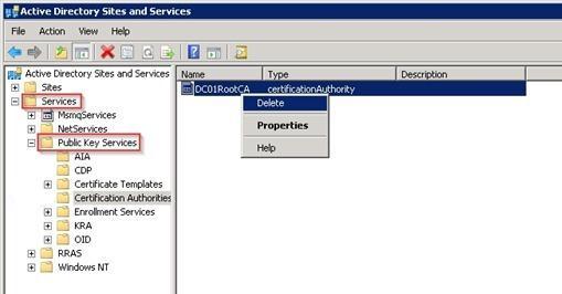 Services -> Public Key Services -> Enrollment Services объект pKIEnrollmentService