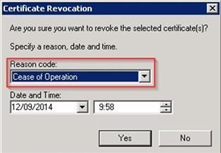 Cease of Operation - причина отзыва сертификата