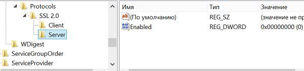 SSL v2 отключаем в старых версиях Windows