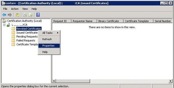 Свойства отозванных сертификатов