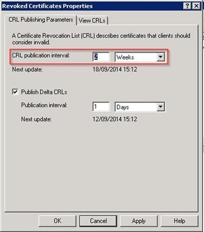 CRL publication interval (интервал публикации списка отозванных сертификатов)
