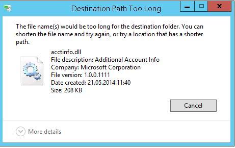 Ограничение на длину пути в Windows