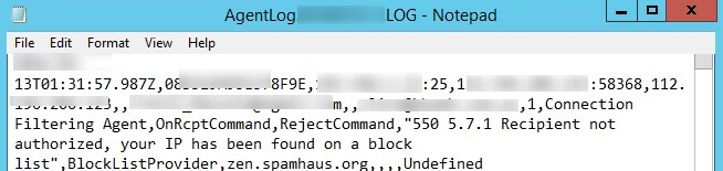 "exchange 550 5.7.1 Recipient not authorized, your IP has been found on a block list"",BlockLictProvider,zen.spamhaus.org"