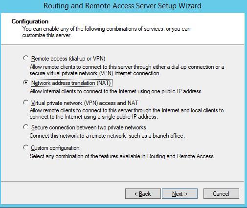 RRAS включає переклад мережевих адрес (NAT)