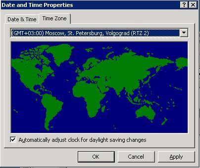 Win 2003: Автоматический переход на летнее время и обратно