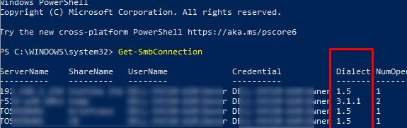 Get-SMBConnection вывести в powershell версии smb, исопльзуемые для подключения