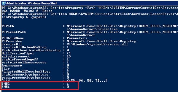 отключить smbv1 сервер в windows 7 через powershell