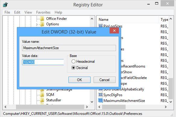 MaximumAttachmentSize  - параметр определяет максимальный размер вложений в Outlook