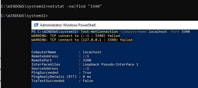 проверка доступности локального порта в windows
