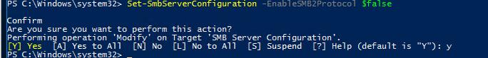 Set-SmbServerConfiguration - powershell отключить SMBv2 и SMBv3