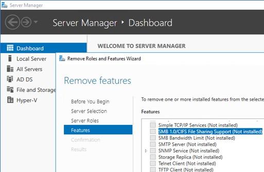 windows server 2016 компонент SMB 1.0
