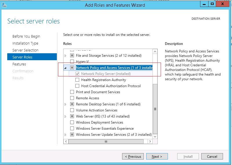 Установка роли Network Policy Server на Windows Server 2012 R2