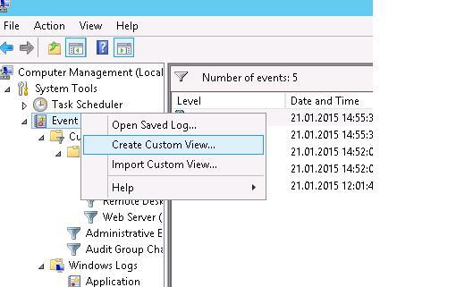 Create Custom View - собственно представление журнала событий