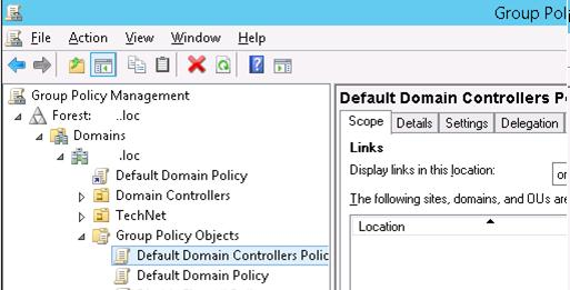 Default Domain Controller Policy