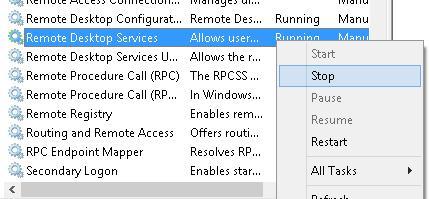 Зупинити служби Remote Desktop Services