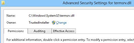 TrustedInstaller - власник файлу termsrv.dll