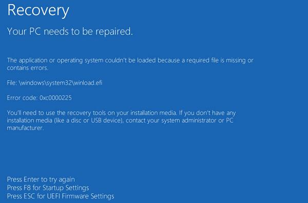 File: \windows\system32\winload.efi is missing or contains errors