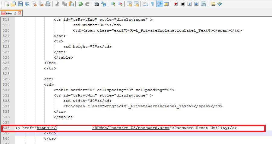 Ссылка на страницу смены пароля в login.aspx