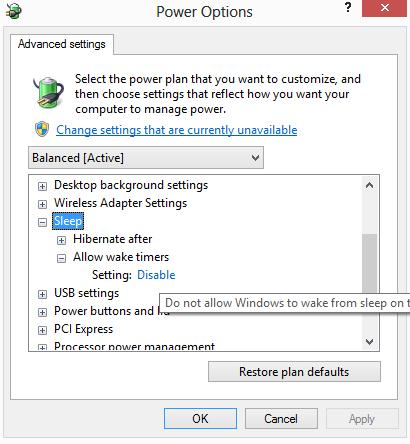 Отключить таймеры пробуждения в Windows 8