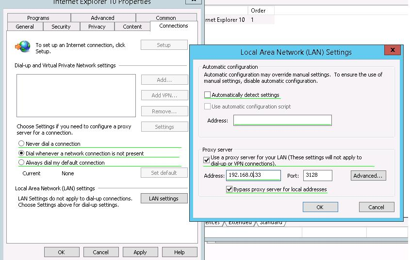 Internet Explorer 10 - настройка прокси-сервера через GPO