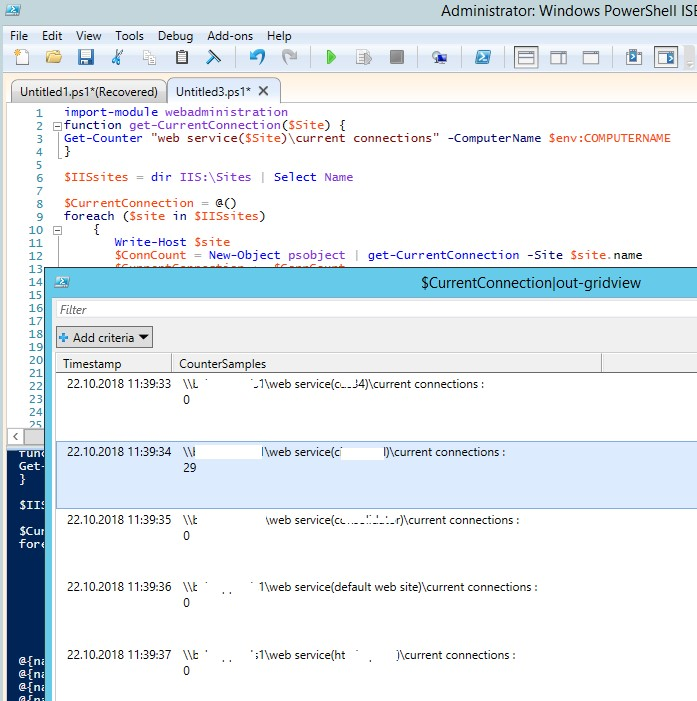 powershell скрипт получения статистики пользоватлей на веб сервере iis