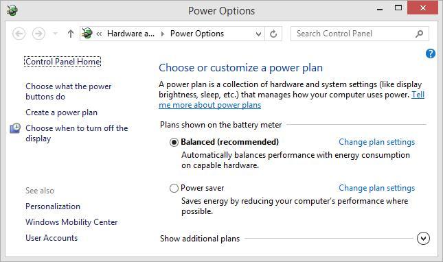 Параметры электропитания Windows 8