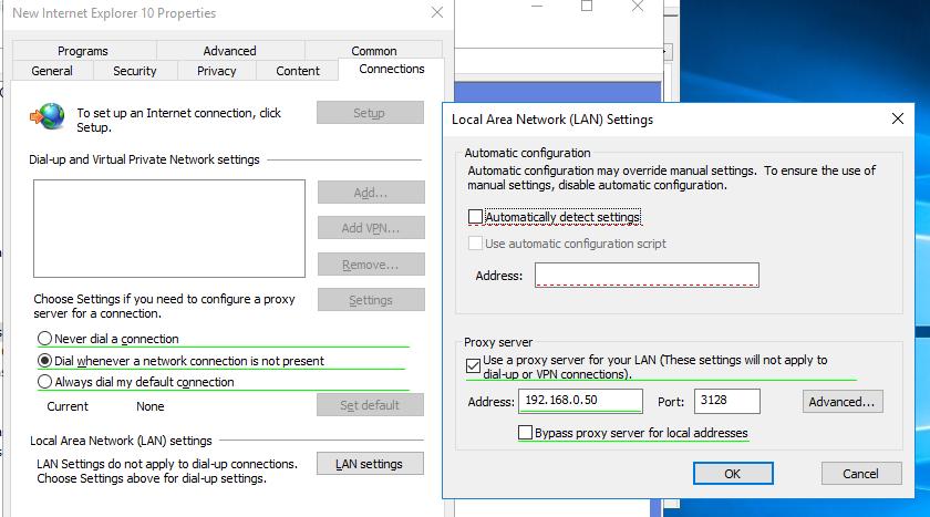 задать параметры прокси сервера в windows 10 через доменную gpo