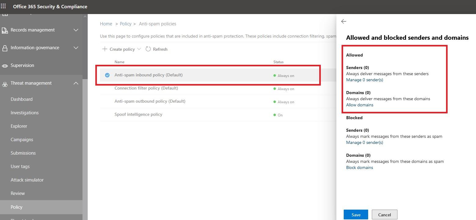 office365 security center добавить разрешенные allowed домены