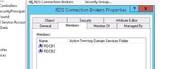 группа Active Directory: RDS Connection Brokers