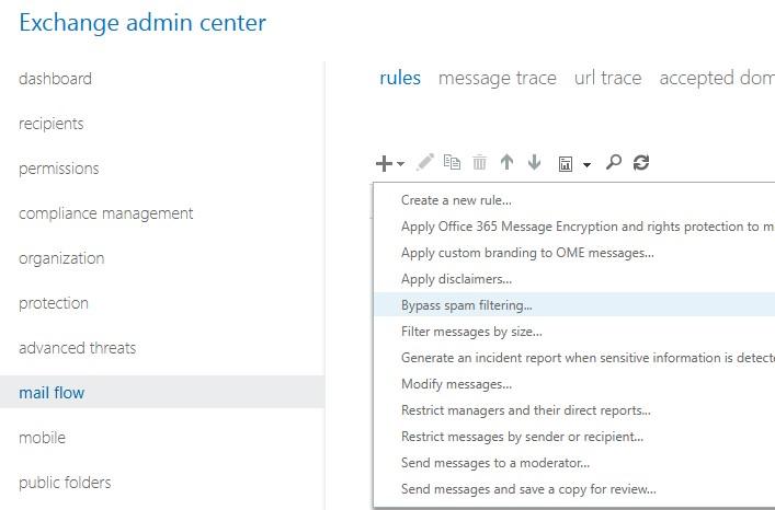 microsoft 365 exchange online добавить транспортное правило bypass spam filter