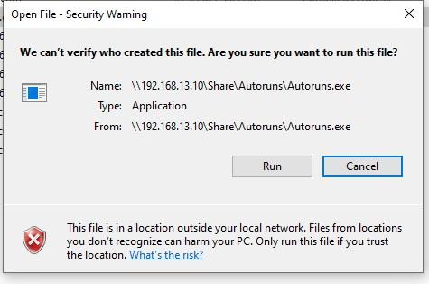 Открыть файл – предупреждение системы безопасности при запуске из сетевой папки