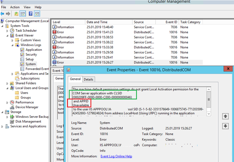 dcom 10016: not grant Local Activation permission for the COM Server application with CLSID and APPID