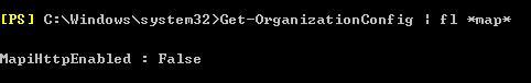 Get-OrganizationConfig mapi