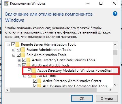 RSAT включить модуль Active Directory Module for Windows PowerShell