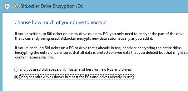 BitLocker - Encrypt entire drive