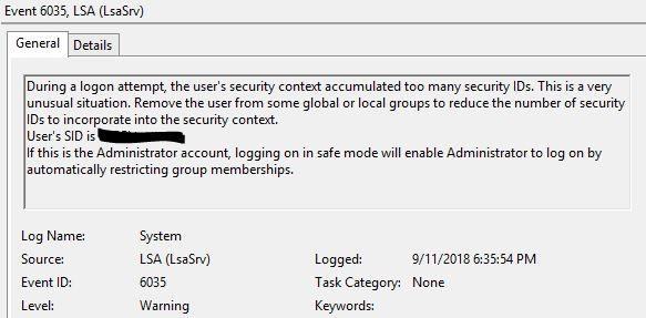 Событие с eventid 6035 LSA (LsaSrv) пользователь состоит в слишком большом количестве групп безопасности