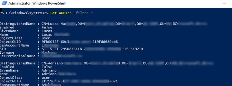 Get-ADUser -filter вывести всех пользователей домена