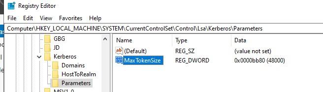задать размер MaxTokenSize в реестра для нового размера буфера kerberos