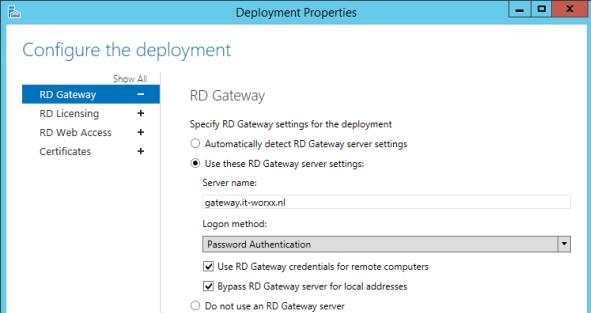 Bypass RD Gateway server for local address