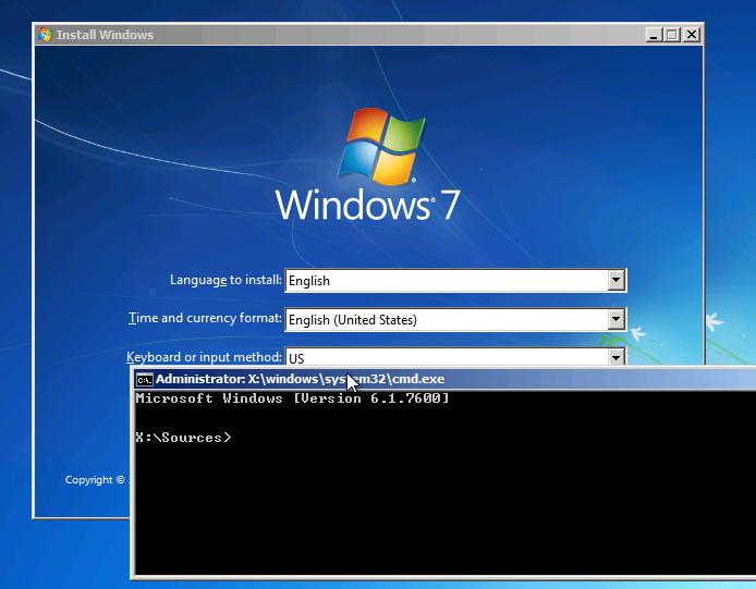 Shift+F10 - окно командной строки на экране установки Windows 7