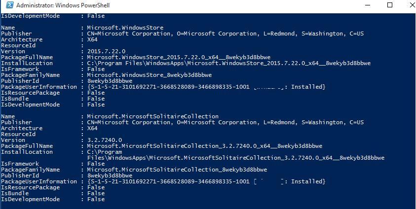 Get-AppxPackage -allusers - список установленых modern приложений