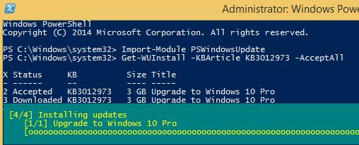 Get-WUInstall KB3012973 - установка обновления через Poweshell