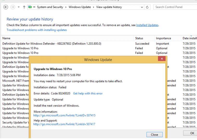 Upgrade to Windows 10 Pro - ошибка 80240020