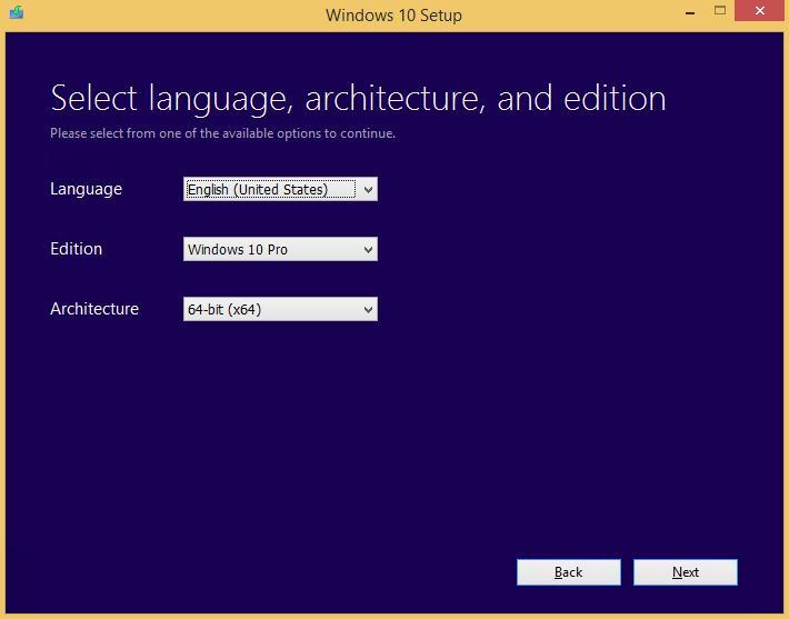 Укажите язык и редакцию Windows 10