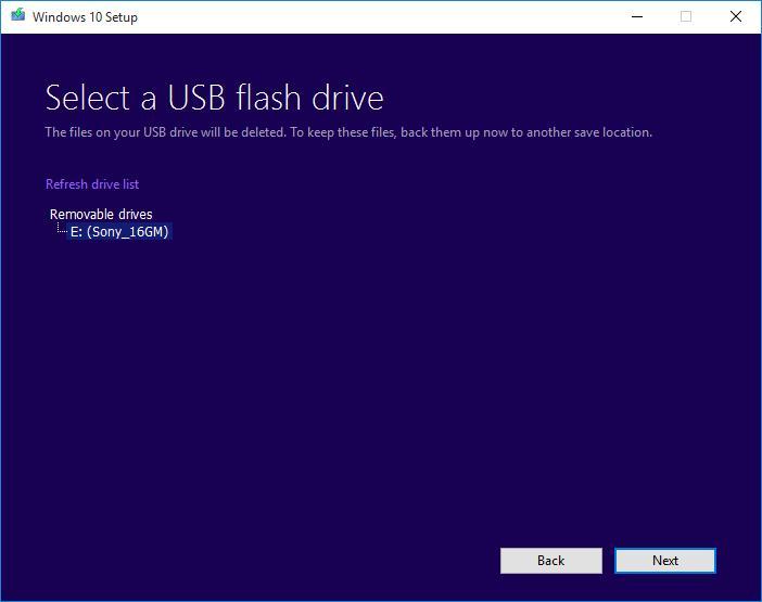 Выберите USB флешку для записи образа