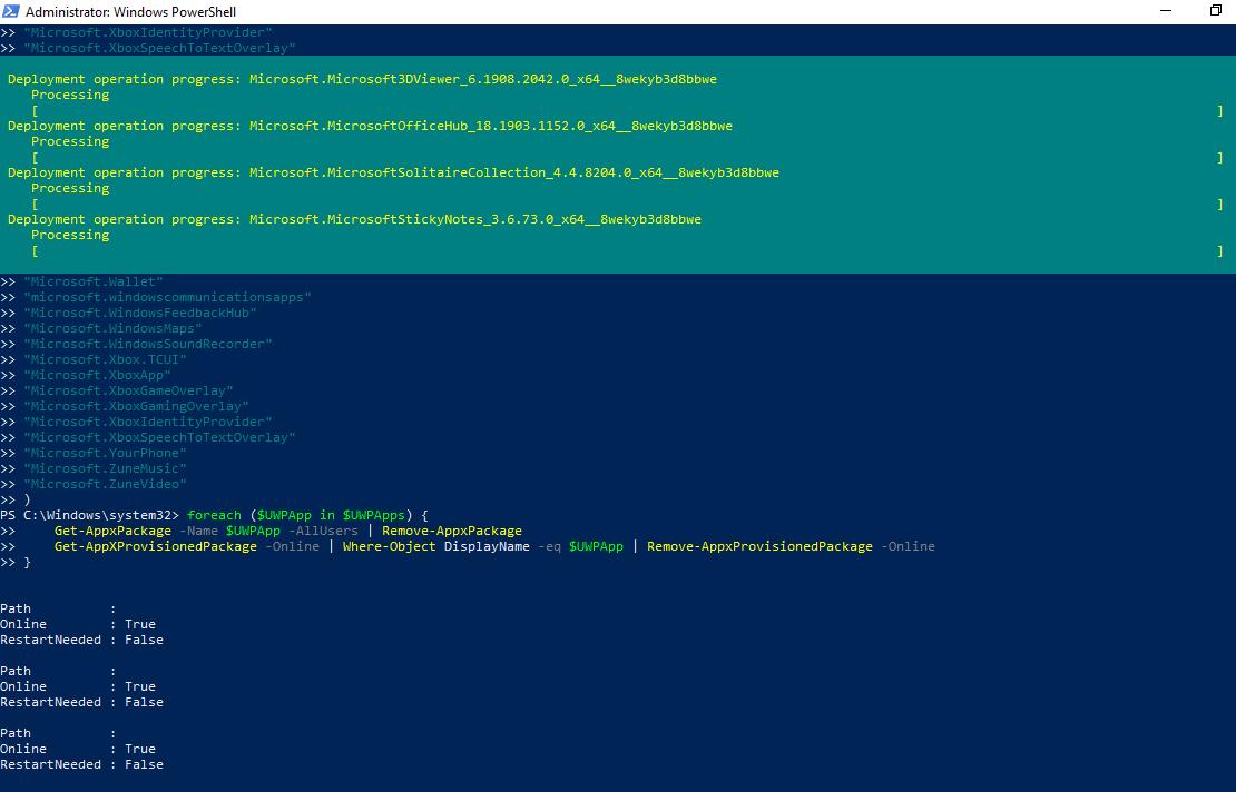 удаление всех предуставноленных appx приложений в windows 10 через powershell