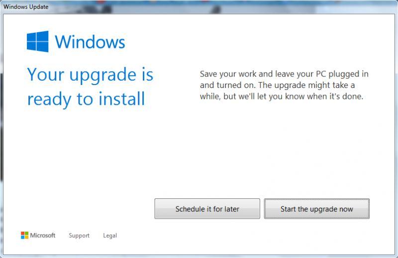 Запуск обновления системы до Windows 10