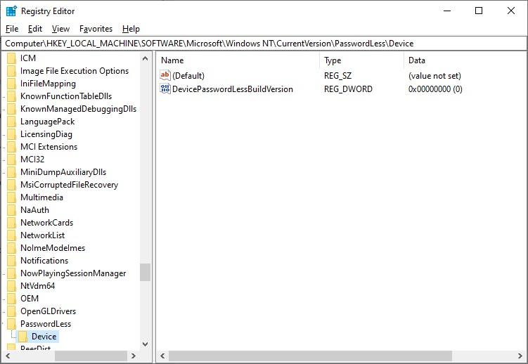 DevicePasswordLessBuildVersion параметр реестра Windows 10 20H2 разрешающий автоматический вход