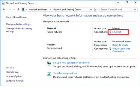 Ethernet подключение с доступом в Интернет